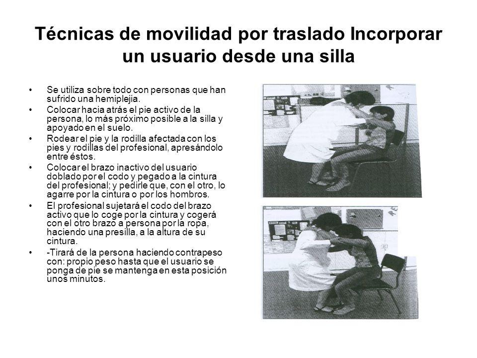Técnicas de movilidad por traslado Incorporar un usuario desde una silla