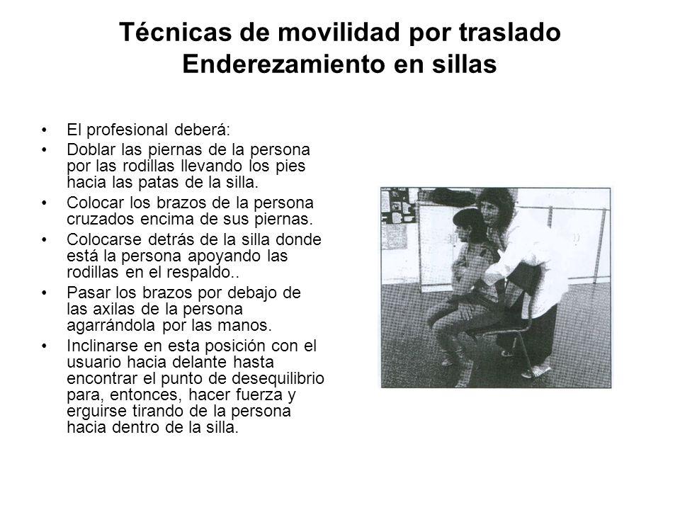 Técnicas de movilidad por traslado Enderezamiento en sillas