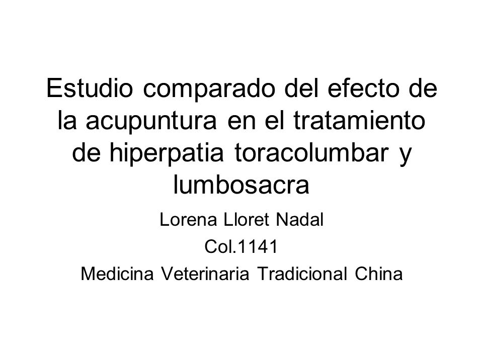 Lorena Lloret Nadal Col.1141 Medicina Veterinaria Tradicional China