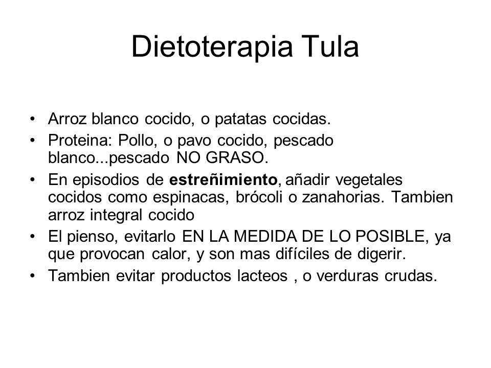 Dietoterapia Tula Arroz blanco cocido, o patatas cocidas.
