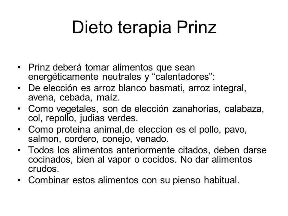 Dieto terapia Prinz Prinz deberá tomar alimentos que sean energéticamente neutrales y calentadores :