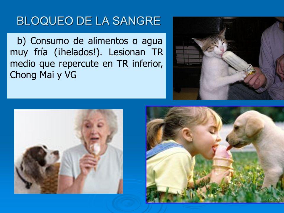 BLOQUEO DE LA SANGRE b) Consumo de alimentos o agua muy fría (¡helados!).