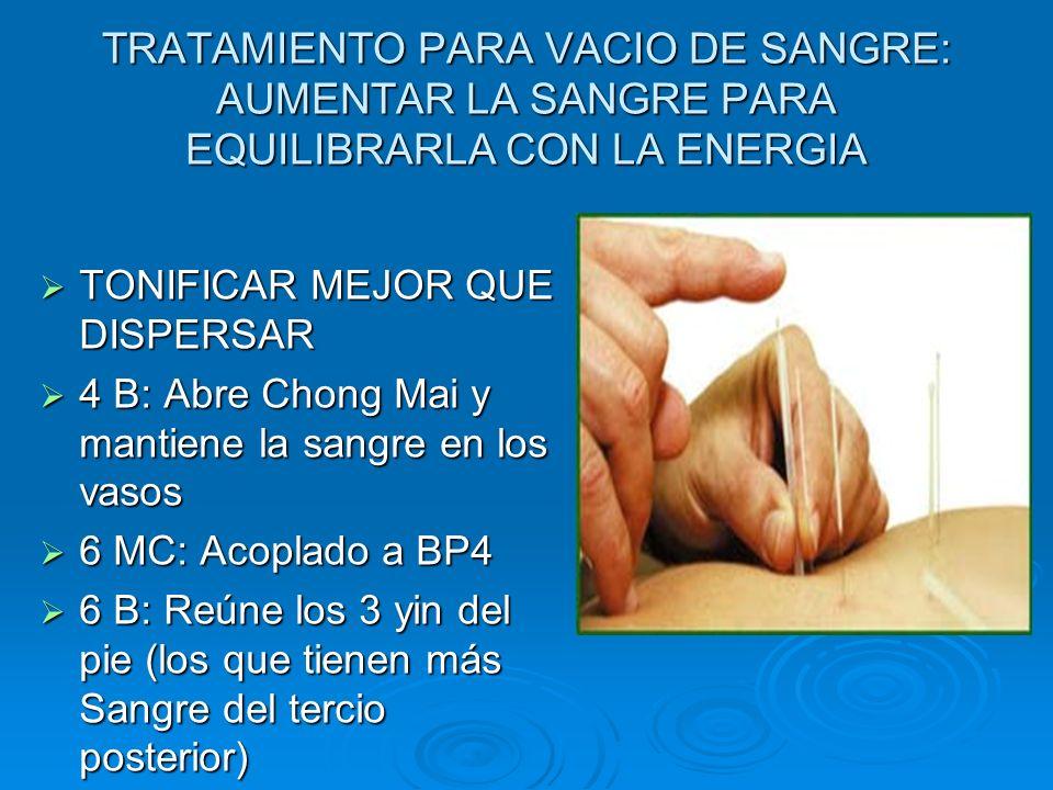 TRATAMIENTO PARA VACIO DE SANGRE: AUMENTAR LA SANGRE PARA EQUILIBRARLA CON LA ENERGIA