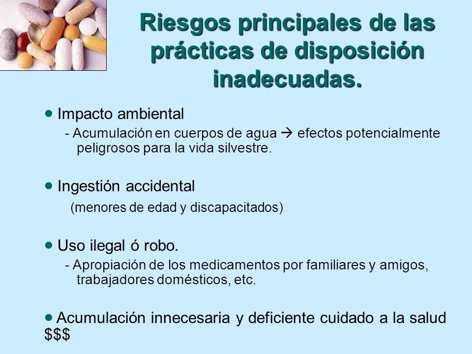 Riesgos principales de las prácticas de disposición inadecuadas.