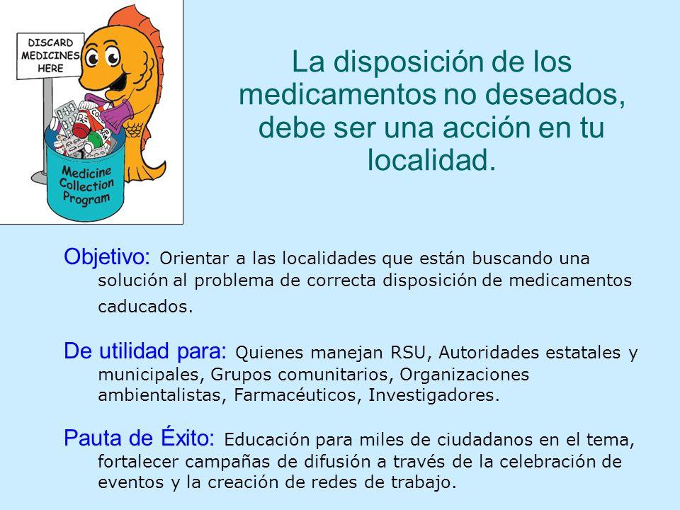 La disposición de los medicamentos no deseados, debe ser una acción en tu localidad.