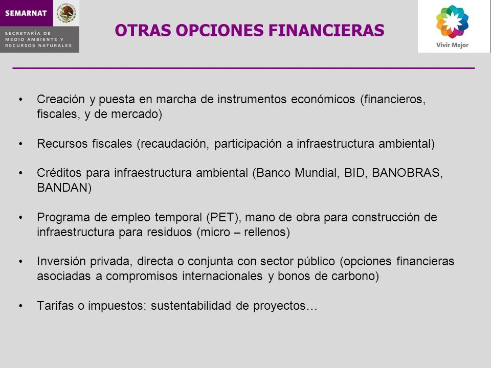 OTRAS OPCIONES FINANCIERAS