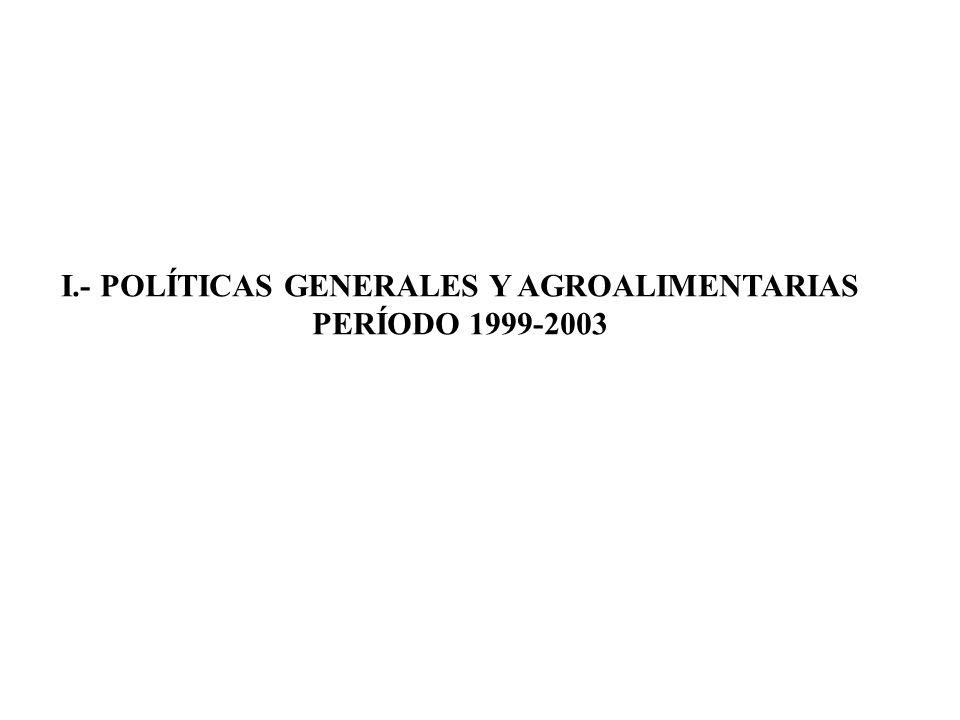 I.- POLÍTICAS GENERALES Y AGROALIMENTARIAS