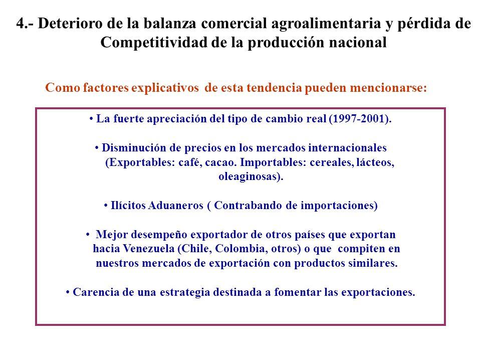4.- Deterioro de la balanza comercial agroalimentaria y pérdida de