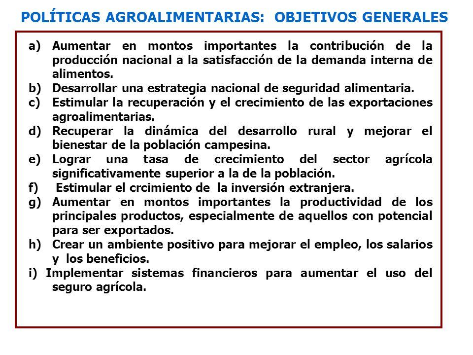 POLÍTICAS AGROALIMENTARIAS: OBJETIVOS GENERALES