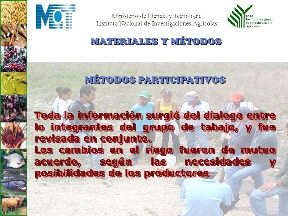 MATERIALES Y MÉTODOS MÉTODOS PARTICIPATIVOS.