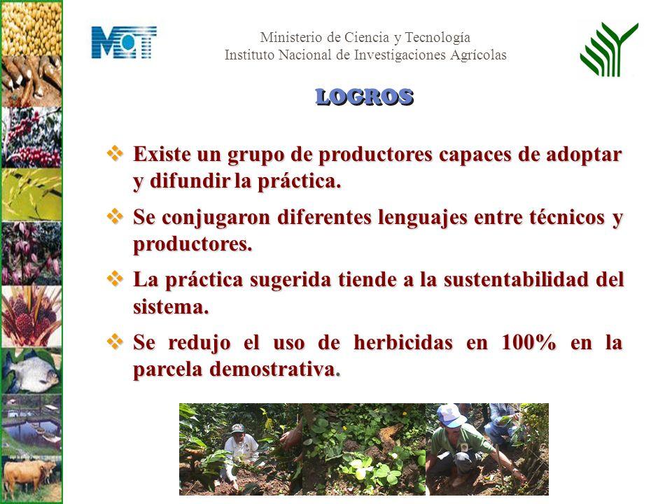 LOGROS Existe un grupo de productores capaces de adoptar y difundir la práctica. Se conjugaron diferentes lenguajes entre técnicos y productores.