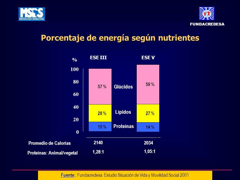 Porcentaje de energía según nutrientes