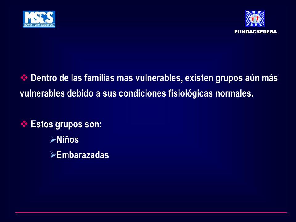 FUNDACREDESA Dentro de las familias mas vulnerables, existen grupos aún más vulnerables debido a sus condiciones fisiológicas normales.
