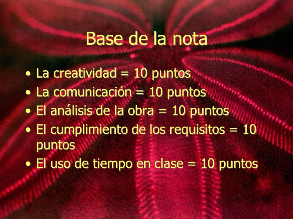 Base de la nota La creatividad = 10 puntos La comunicación = 10 puntos