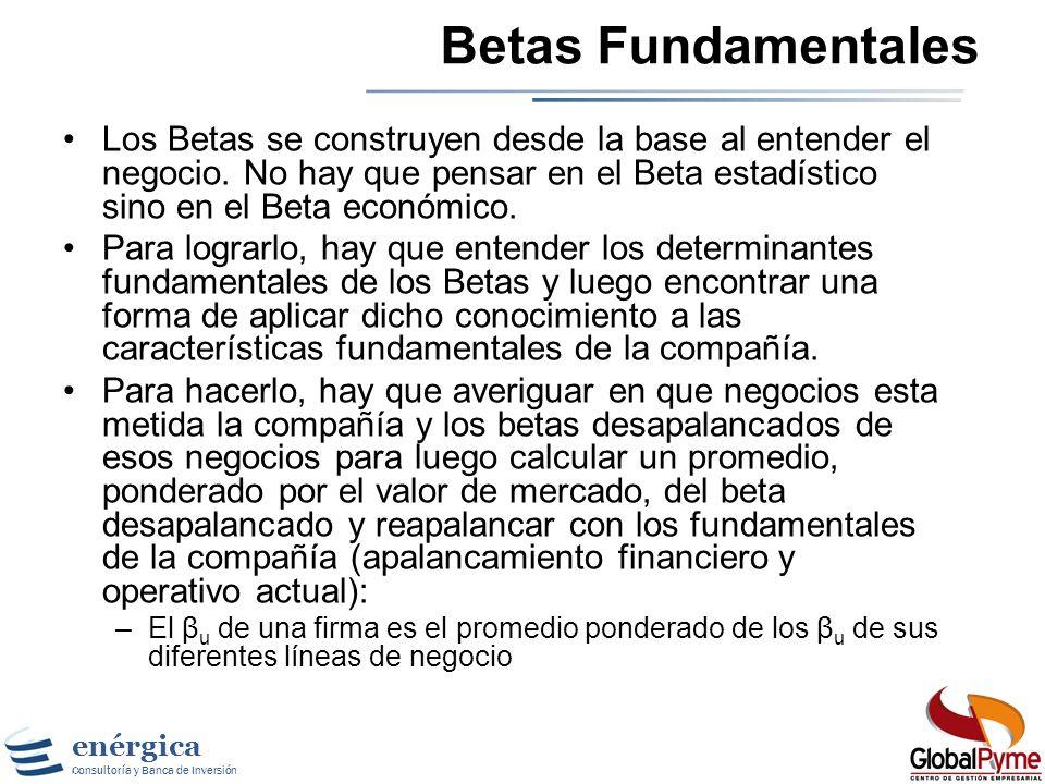 Betas Fundamentales Los Betas se construyen desde la base al entender el negocio. No hay que pensar en el Beta estadístico sino en el Beta económico.