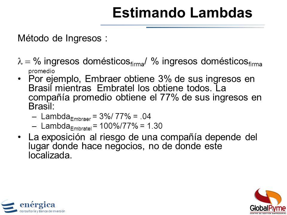 Estimando Lambdas Método de Ingresos :