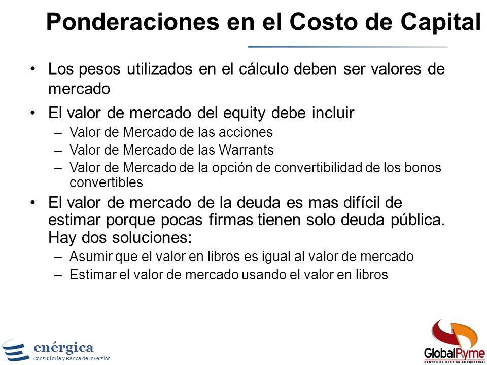 Ponderaciones en el Costo de Capital