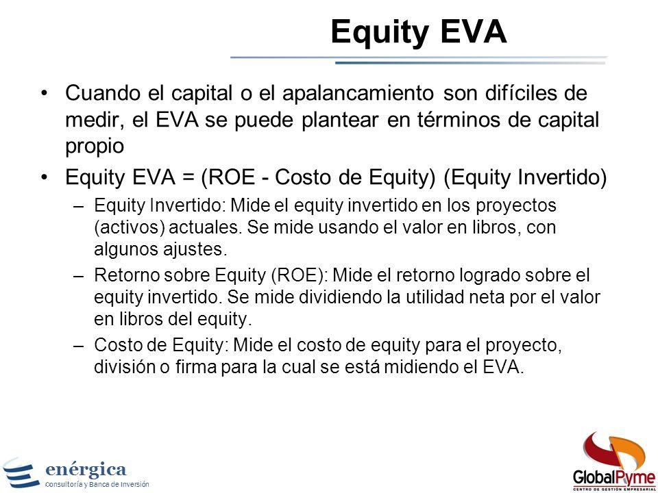 Equity EVA Cuando el capital o el apalancamiento son difíciles de medir, el EVA se puede plantear en términos de capital propio.