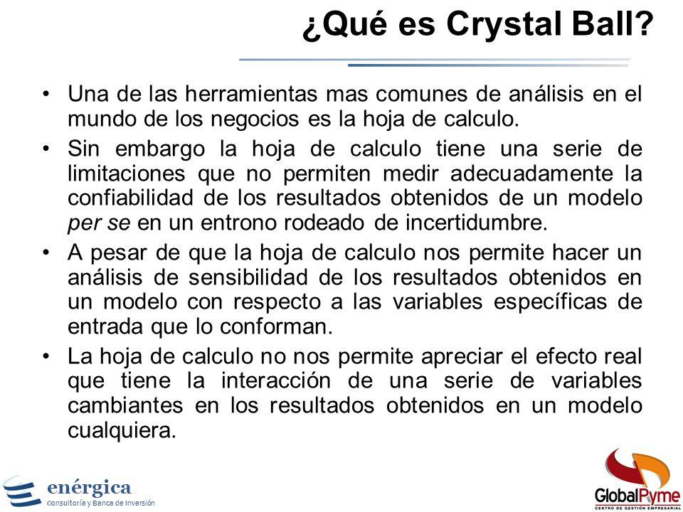 ¿Qué es Crystal Ball Una de las herramientas mas comunes de análisis en el mundo de los negocios es la hoja de calculo.