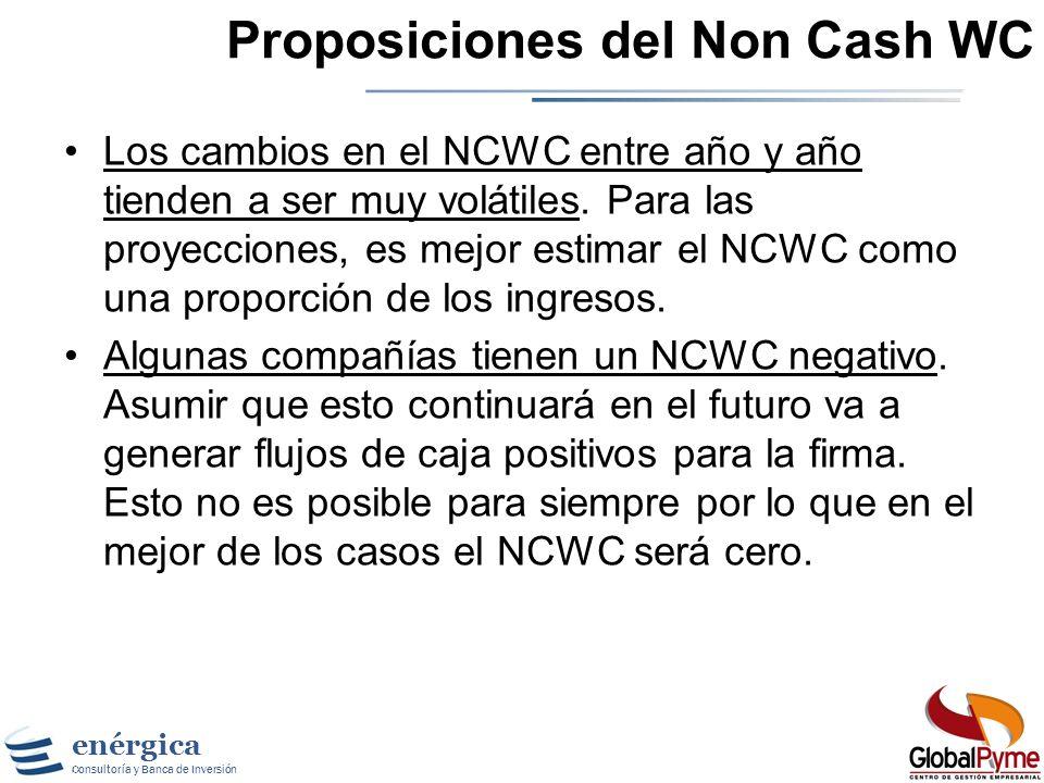 Proposiciones del Non Cash WC