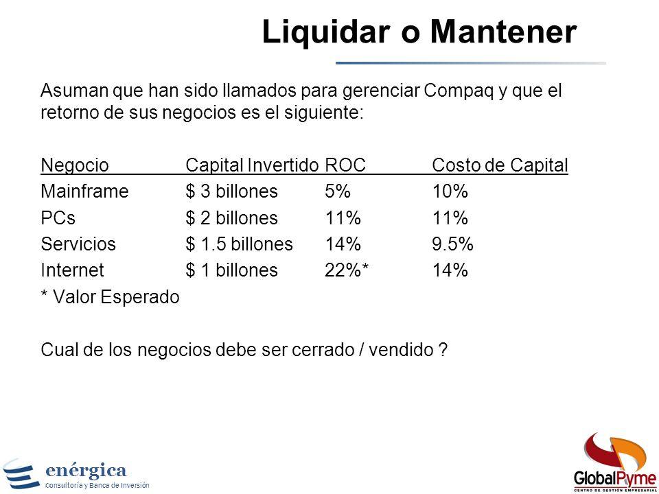 Liquidar o MantenerAsuman que han sido llamados para gerenciar Compaq y que el retorno de sus negocios es el siguiente: