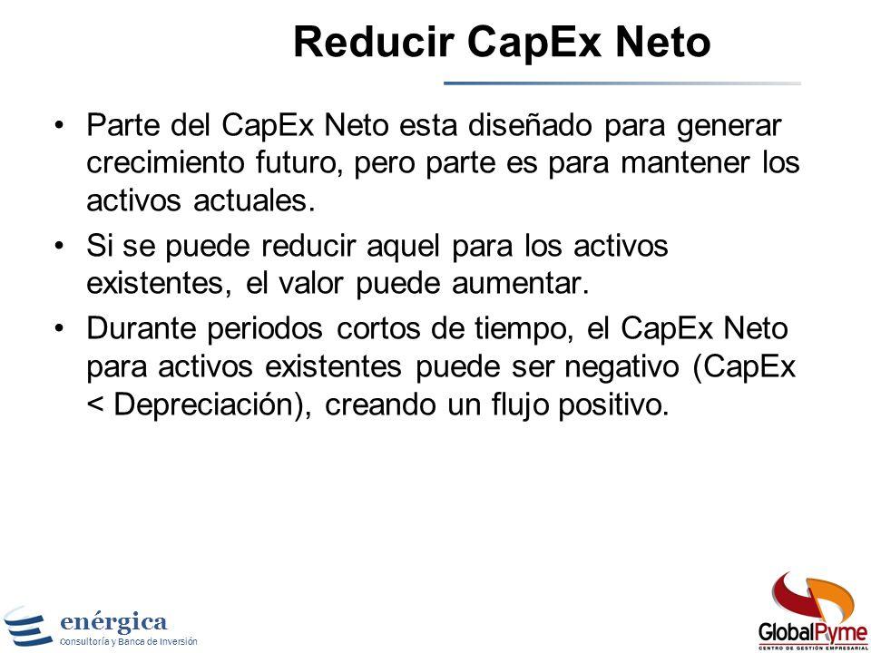 Reducir CapEx Neto Parte del CapEx Neto esta diseñado para generar crecimiento futuro, pero parte es para mantener los activos actuales.