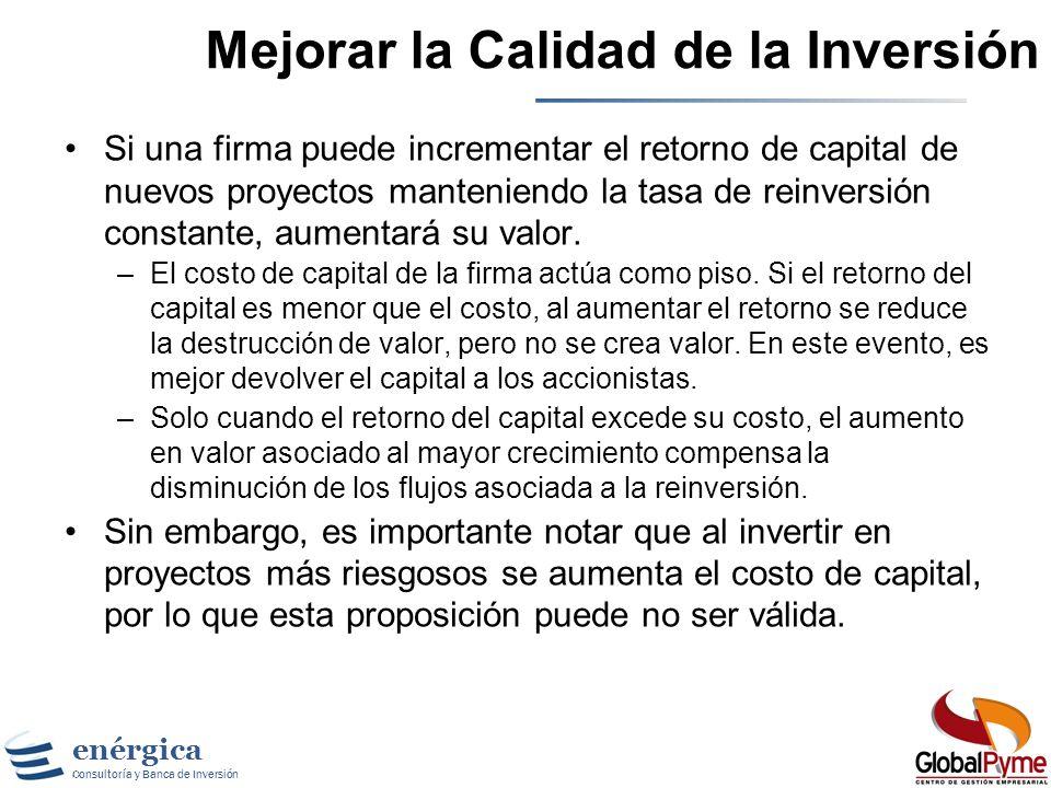 Mejorar la Calidad de la Inversión