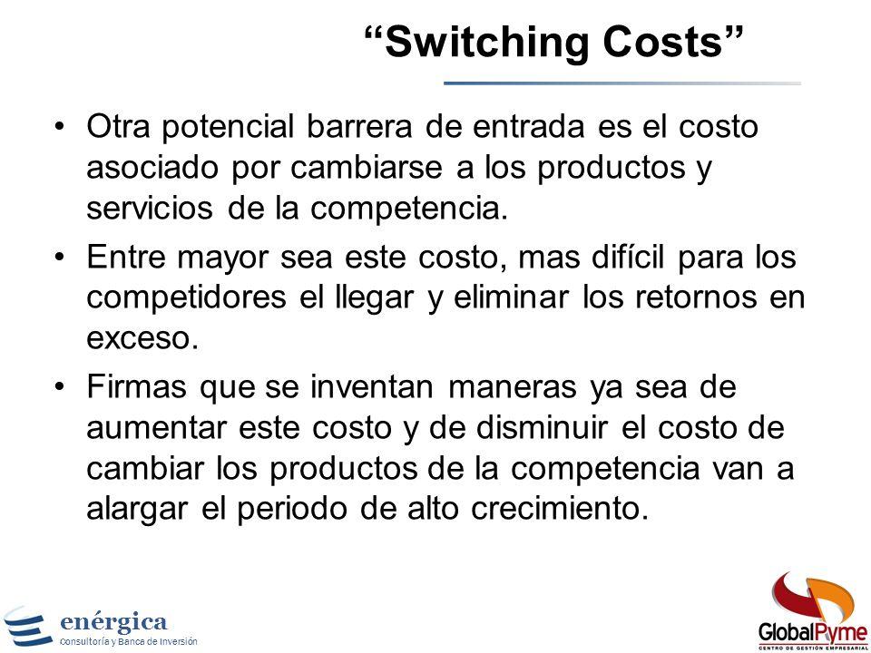 Switching Costs Otra potencial barrera de entrada es el costo asociado por cambiarse a los productos y servicios de la competencia.