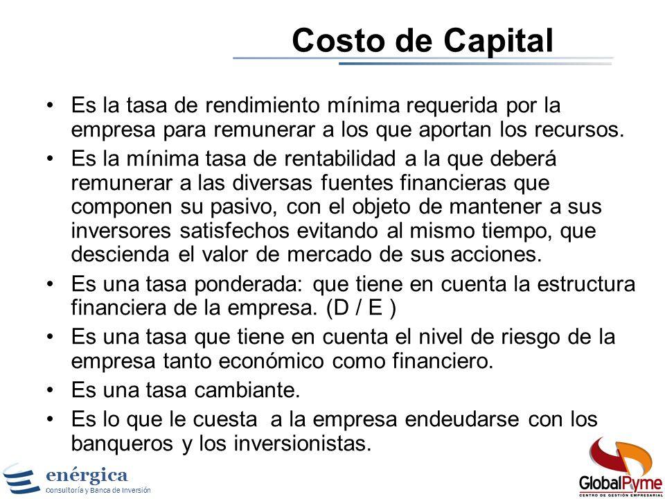 Costo de CapitalEs la tasa de rendimiento mínima requerida por la empresa para remunerar a los que aportan los recursos.