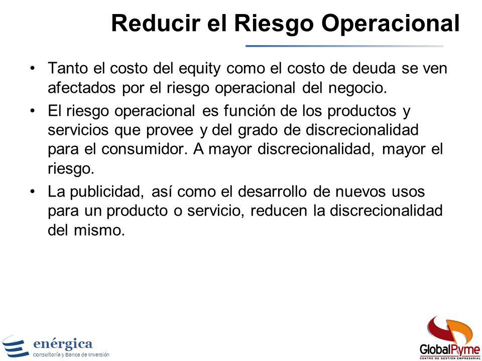 Reducir el Riesgo Operacional