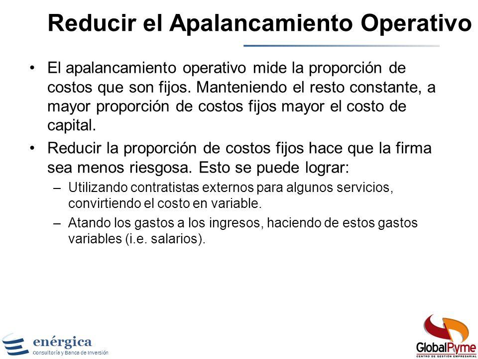 Reducir el Apalancamiento Operativo