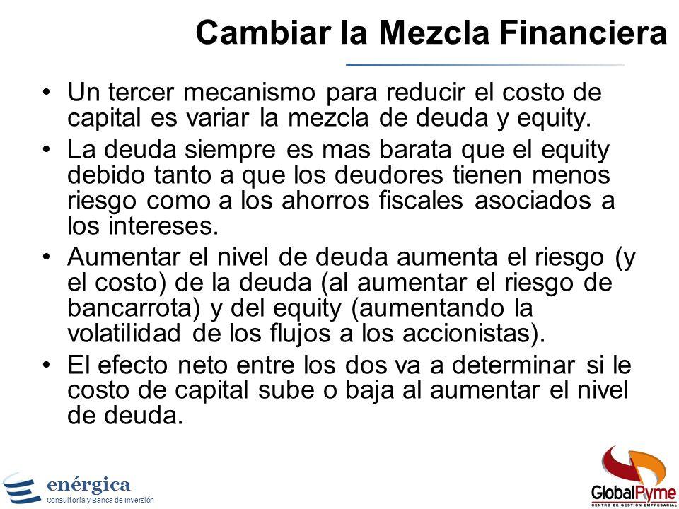 Cambiar la Mezcla Financiera