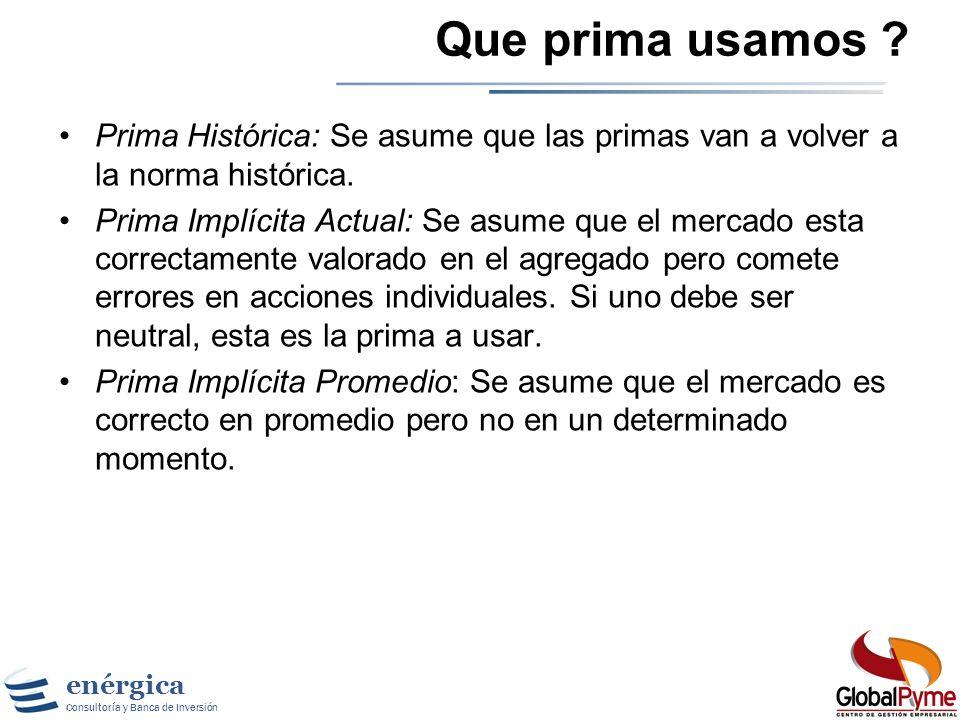 Que prima usamos Prima Histórica: Se asume que las primas van a volver a la norma histórica.