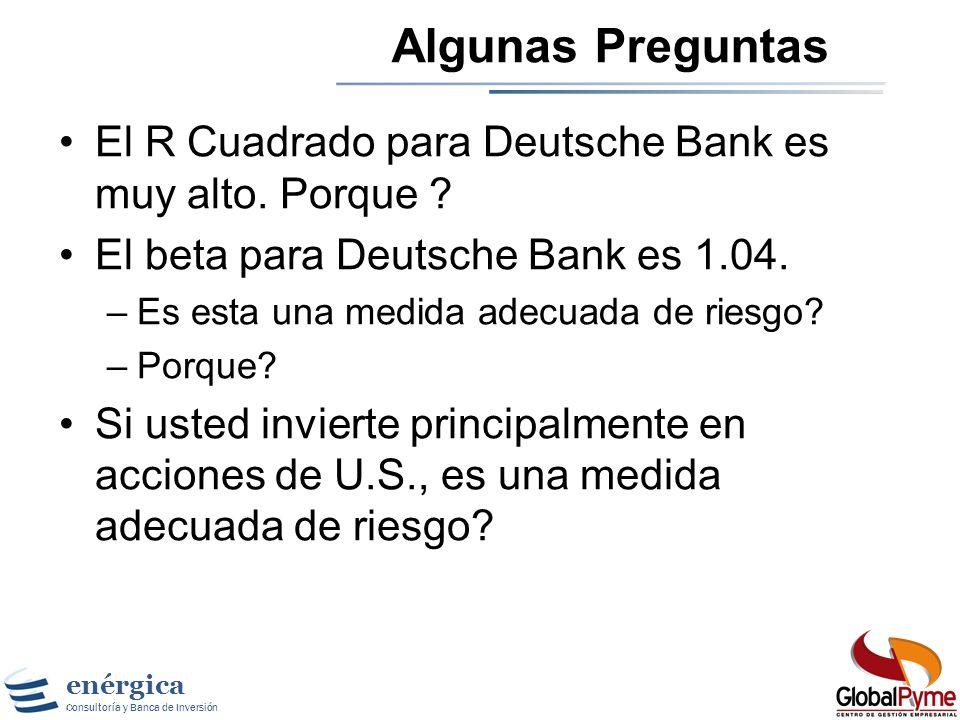 Algunas Preguntas El R Cuadrado para Deutsche Bank es muy alto. Porque El beta para Deutsche Bank es 1.04.