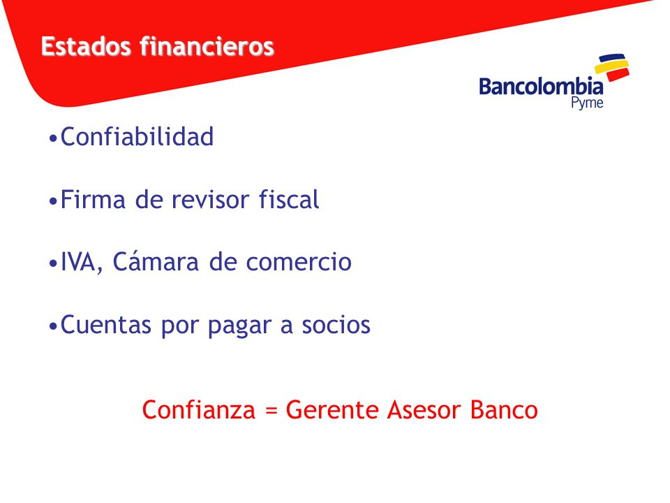 Confianza = Gerente Asesor Banco