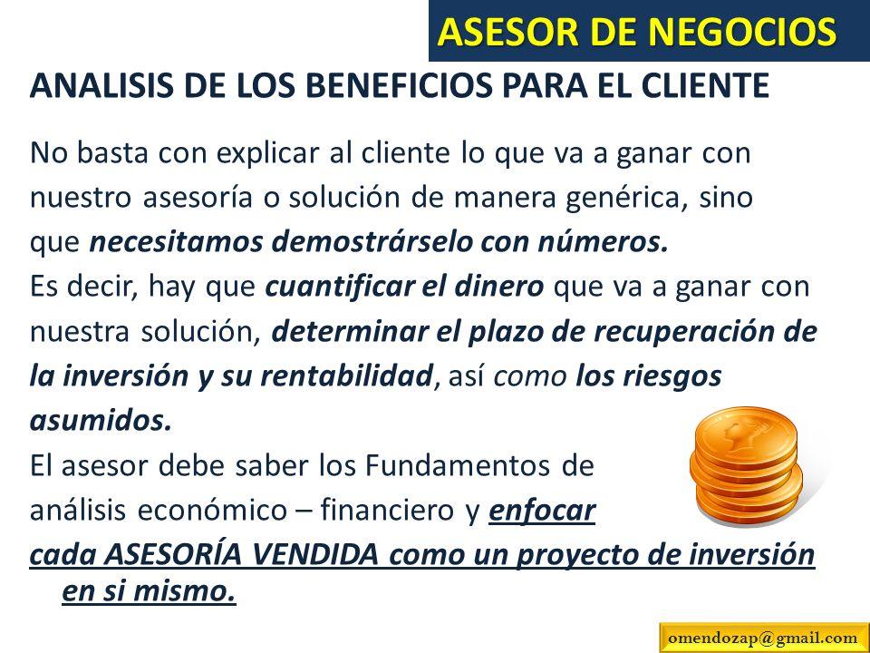 ASESOR DE NEGOCIOS ANALISIS DE LOS BENEFICIOS PARA EL CLIENTE