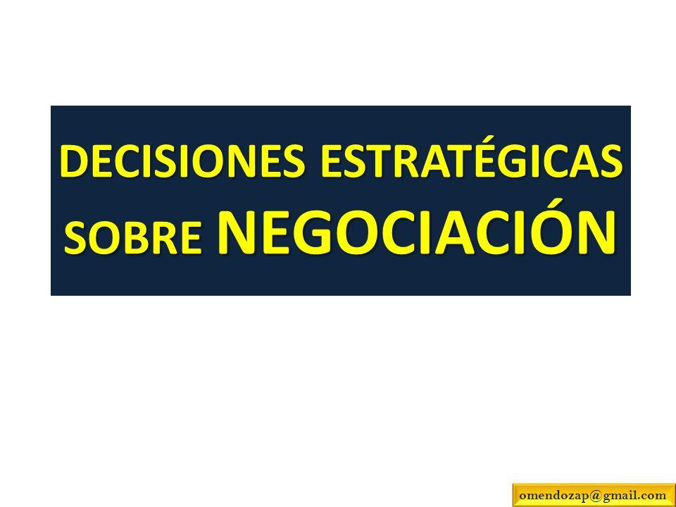 DECISIONES ESTRATÉGICAS SOBRE NEGOCIACIÓN