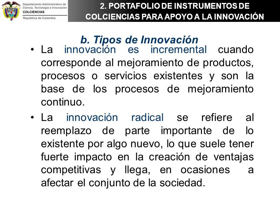 2. PORTAFOLIO DE INSTRUMENTOS DE COLCIENCIAS PARA APOYO A LA INNOVACIÓN