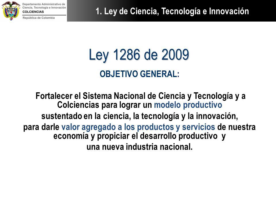 Ley 1286 de 2009 1. Ley de Ciencia, Tecnología e Innovación