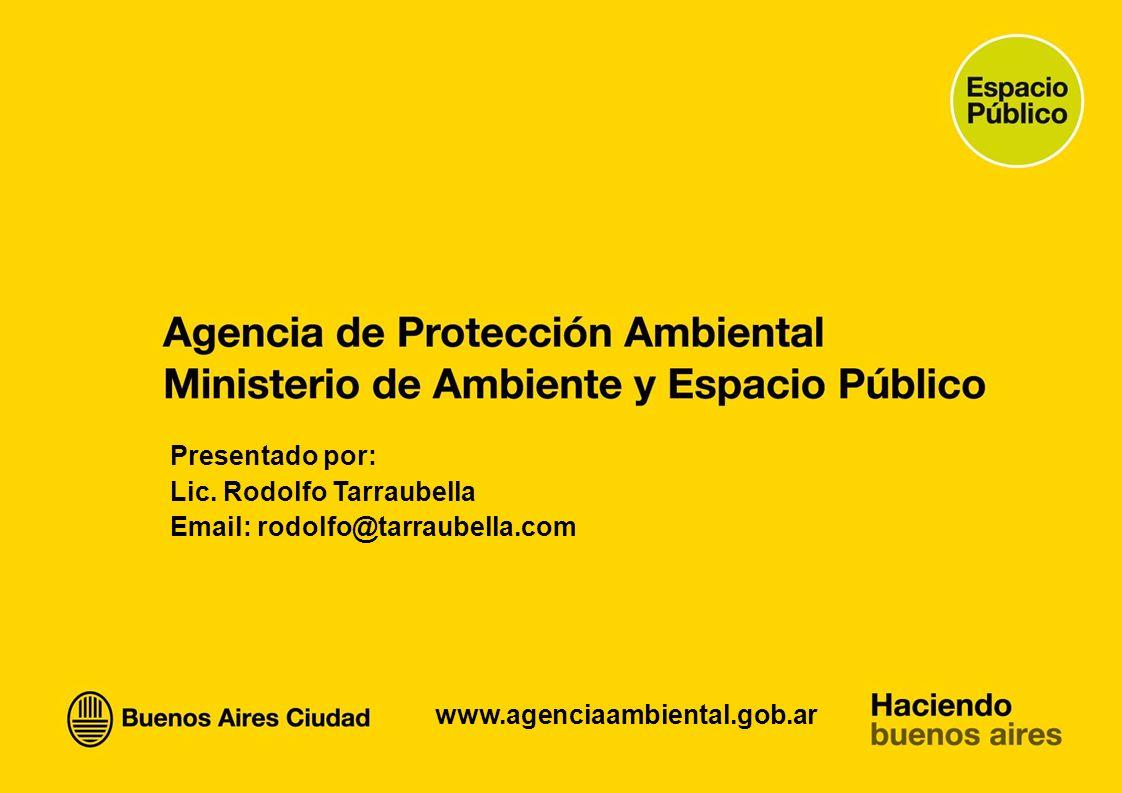 Presentado por: Lic. Rodolfo Tarraubella Email: rodolfo@tarraubella.com www.agenciaambiental.gob.ar