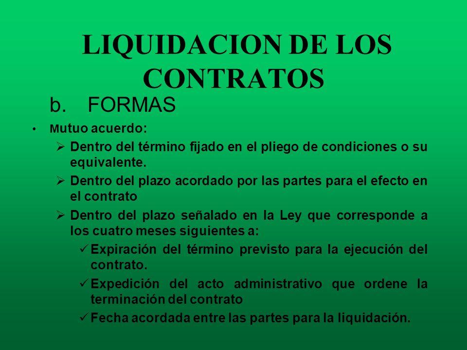 LIQUIDACION DE LOS CONTRATOS