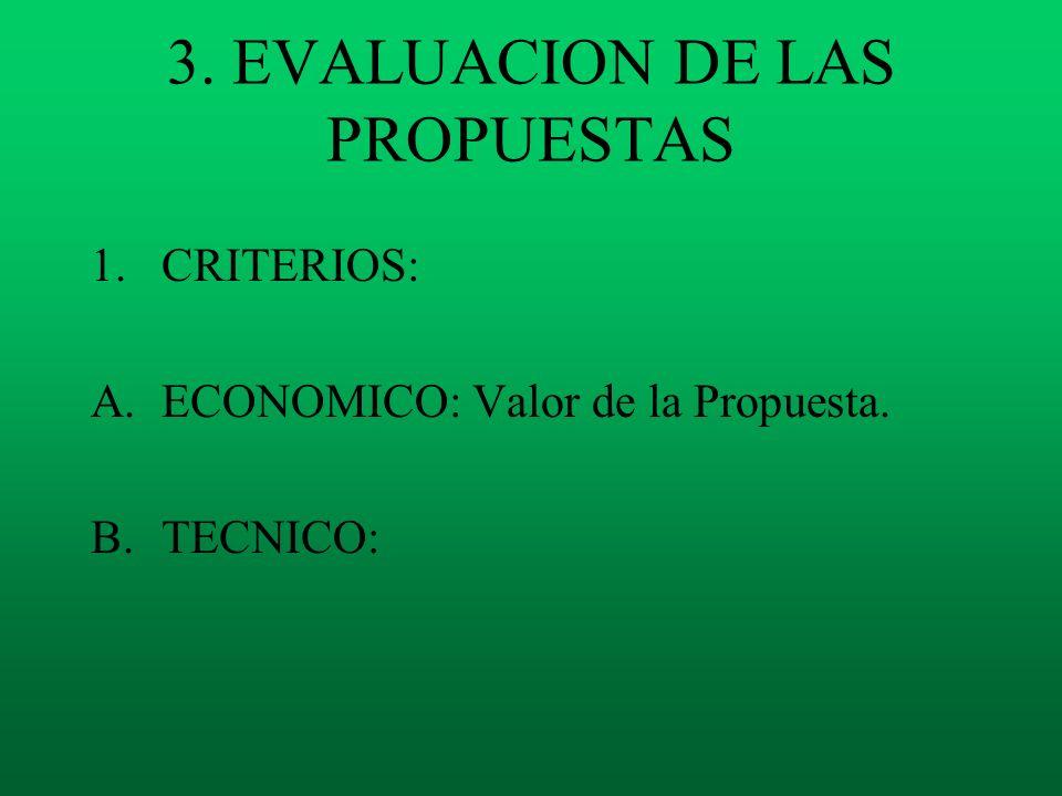 3. EVALUACION DE LAS PROPUESTAS