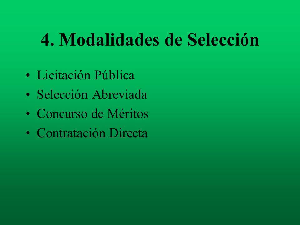 4. Modalidades de Selección