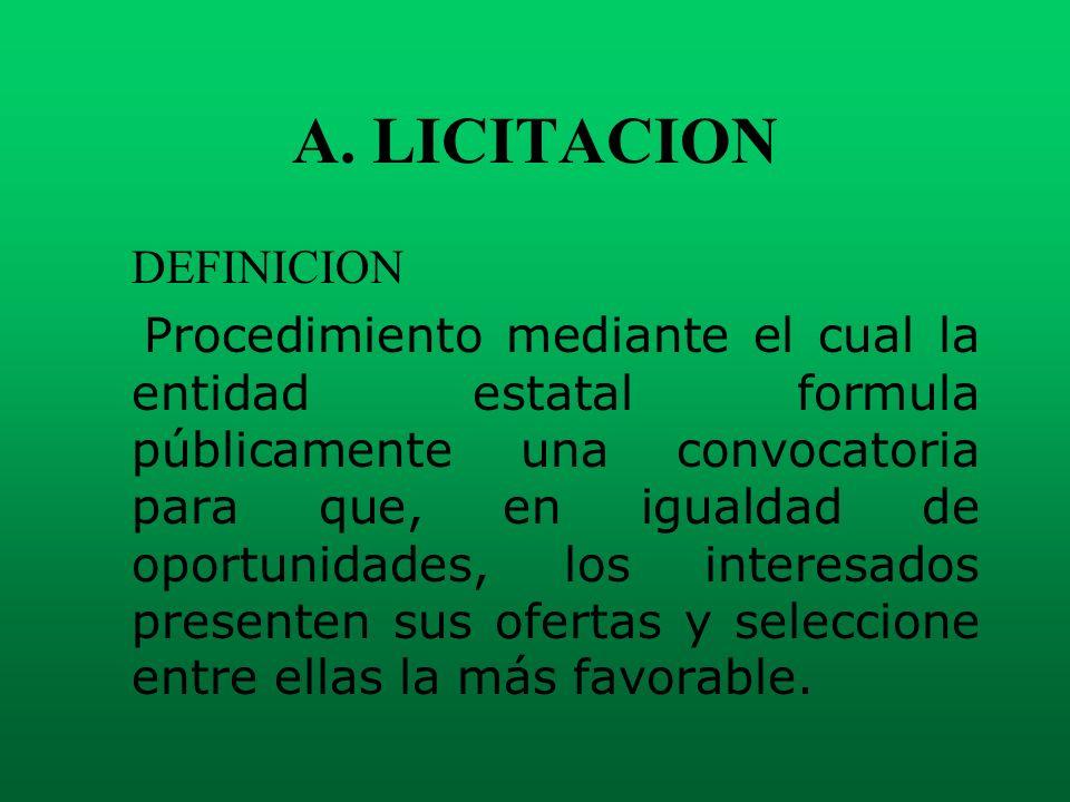 A. LICITACION DEFINICION