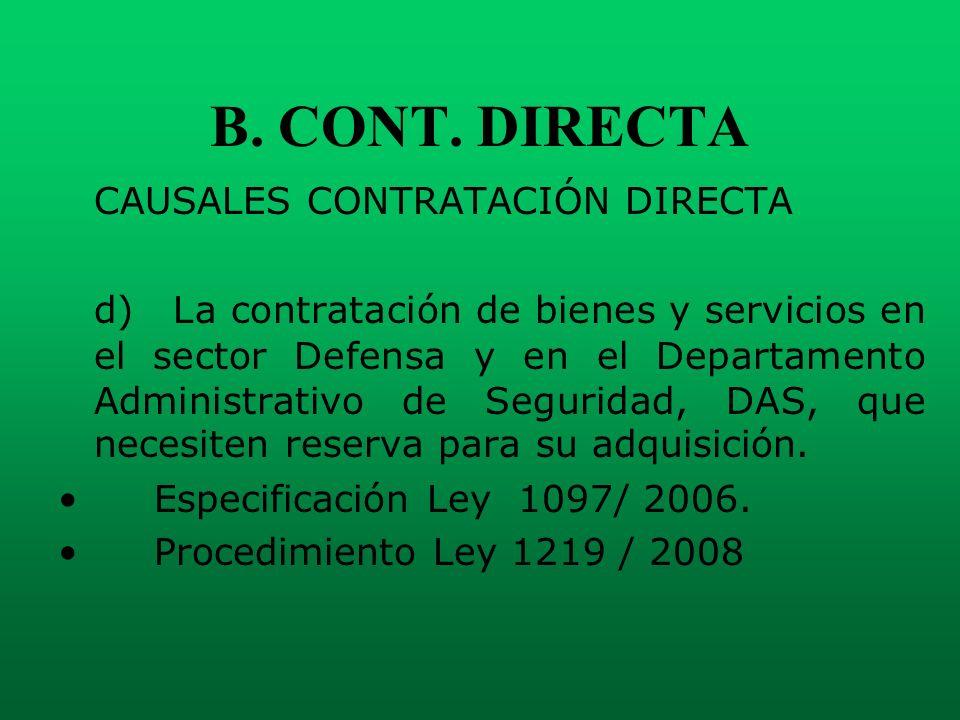 B. CONT. DIRECTA CAUSALES CONTRATACIÓN DIRECTA