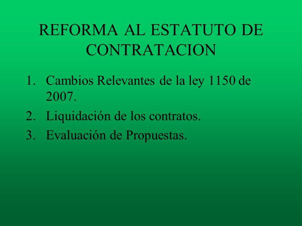 REFORMA AL ESTATUTO DE CONTRATACION