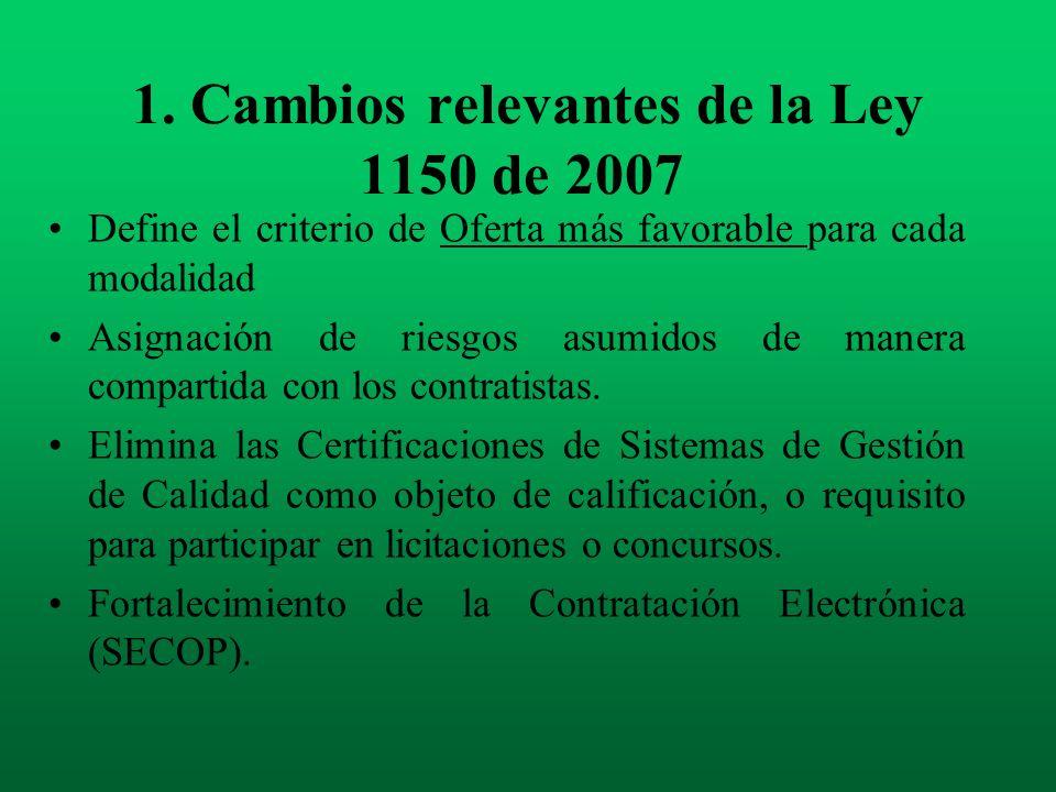 1. Cambios relevantes de la Ley 1150 de 2007