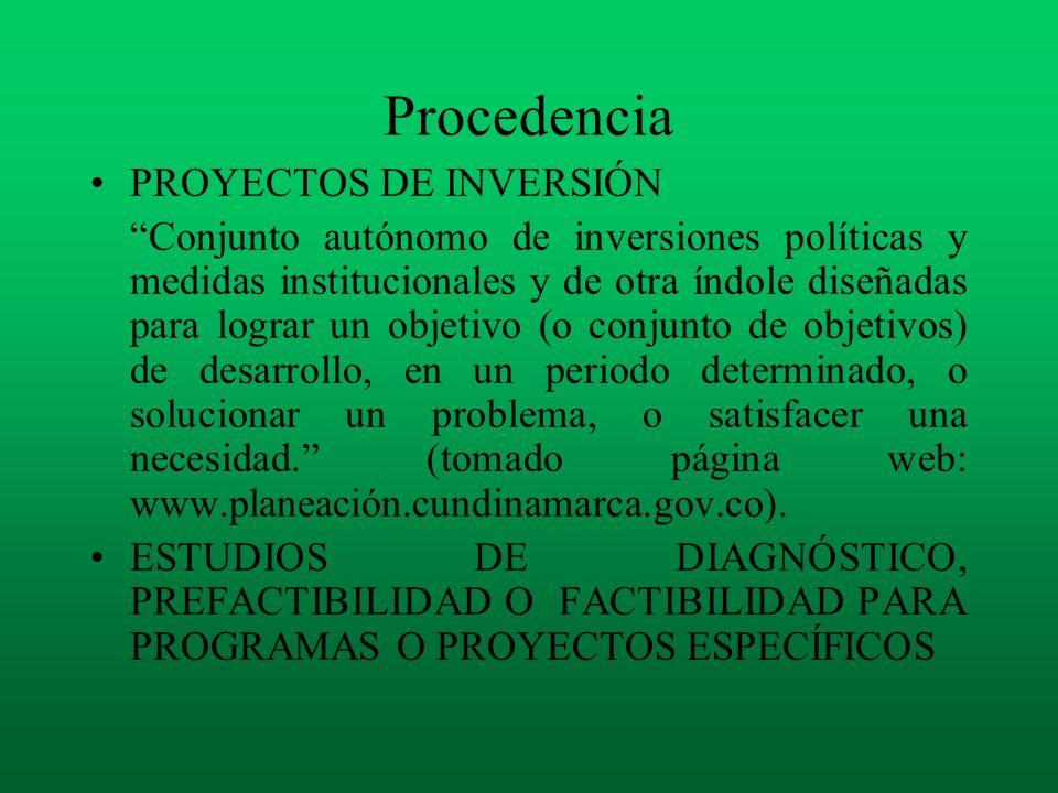 Procedencia PROYECTOS DE INVERSIÓN