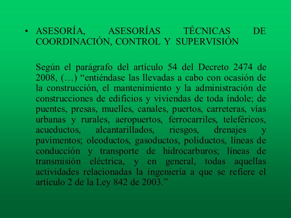 ASESORÍA, ASESORÍAS TÉCNICAS DE COORDINACIÓN, CONTROL Y SUPERVISIÓN