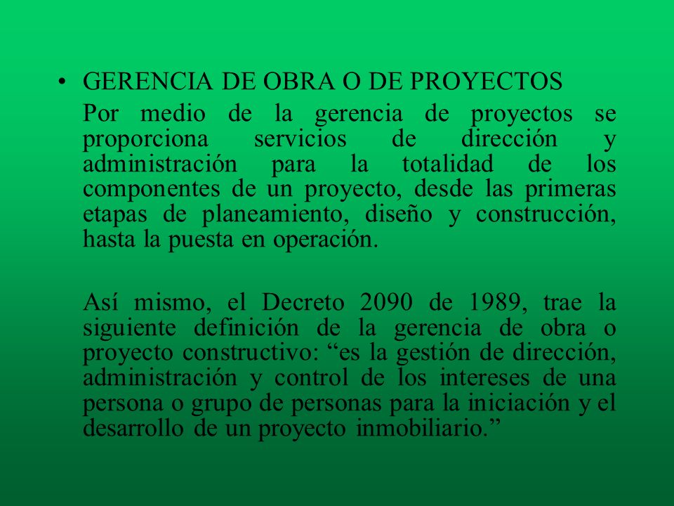 GERENCIA DE OBRA O DE PROYECTOS